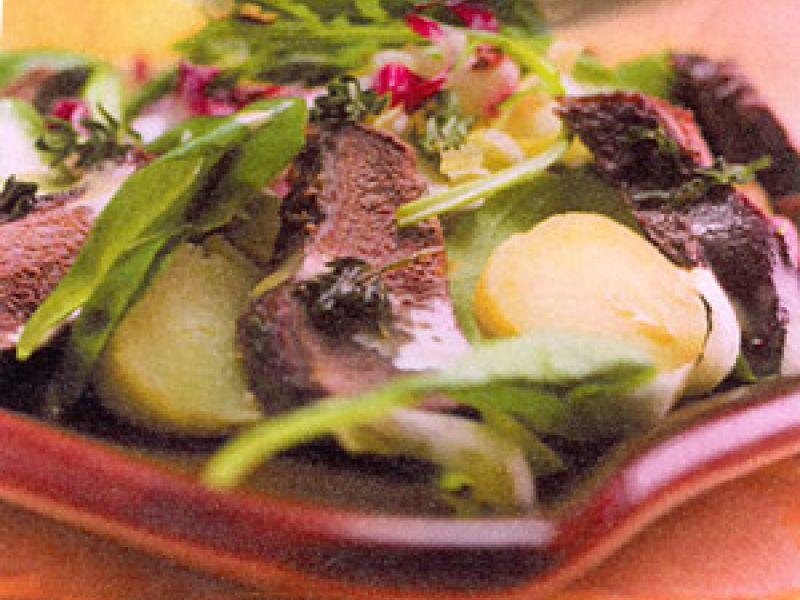 Lauwwarme aardappelsalade met bosduif