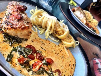 Kip, Spinazie, Zongedroogde tomaat in de oven met Linguini