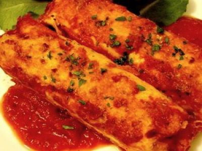 Canneloni met scampi