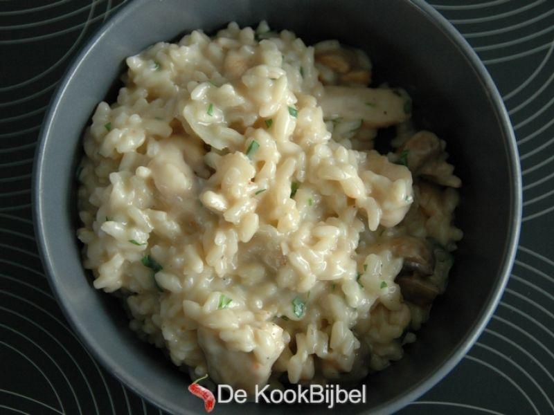 Risotto, kip & champignons