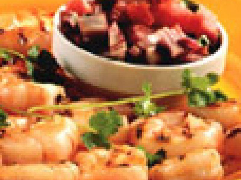 Gegrilde tijgergarnalen, salsa met watermeloen