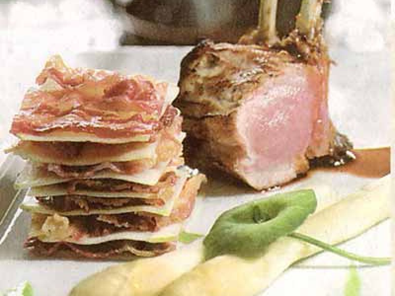 Carré of milk lamb, mash of peas, asparagus and apple croque with bacon