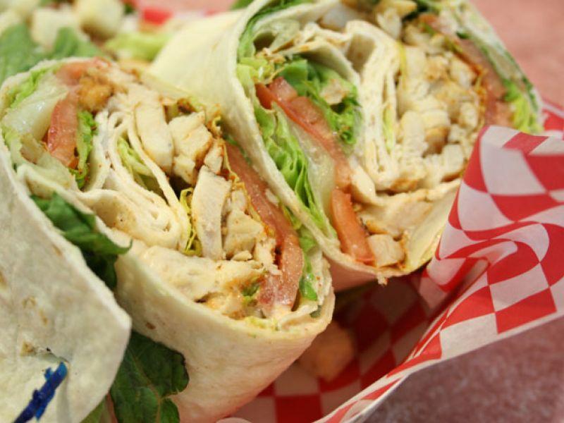 Tortilla wrap with chicken salad