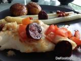 Schelvis, Chorizochips  & Belgische asperges