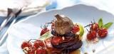 Millefeuille van aubergines en gedroogde ham