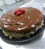 Chocolade biscuit met frambozen