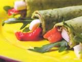 Basilicumflensjes met ham en mozzarella