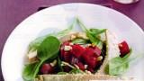 Forelfilets met bladspinazie en rode bieten