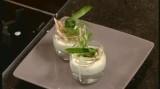 Mini glaasje met mierikswortel mousse en gerookte paling