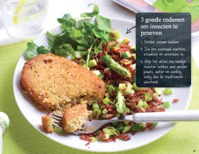 Gebakken rode rijst met groenten en insectenburger