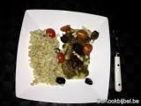 Kabeljauw met pesto, kerstomaten en olijven