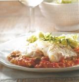 Kabeljauw met lichte tomaat-kapperroomsaus