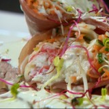 Kalfsgebraad met cannelloni van gedroogde ham en krab