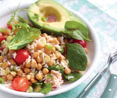Salade van kikkererwten en rijst