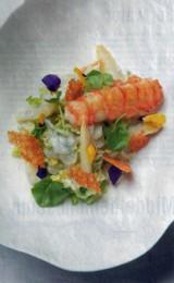 Salade met asperges en langoustines