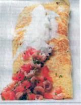 Omelet baveuse met tomaat, garnaal