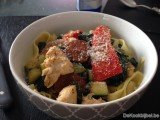Pappardelle met gegrilde kip en chorizo