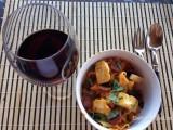 Pappardelle met calabrese saus ,haloumi en chili, krokante chorizo