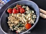 Risotto met spinazie, kerstomaatjes en geitenkaas