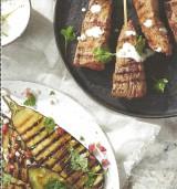 Runderbrazade met geroosterde aubergines en tahinsaus