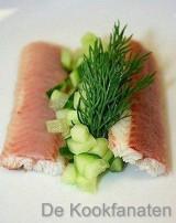 Komkommersoep met gerookte paling