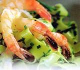 Gerookte Nobashigarnalen met pasta en groen kruiden